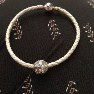 White leather braided chamilia bracelet